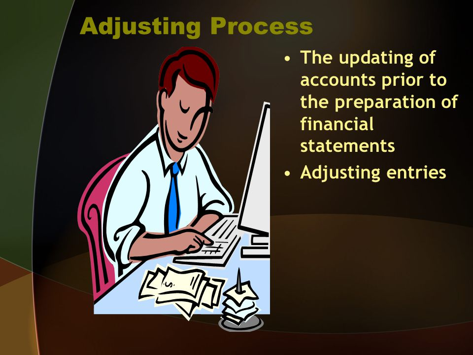 Adjusting Process The updating of accounts prior to the preparation of financial statements.