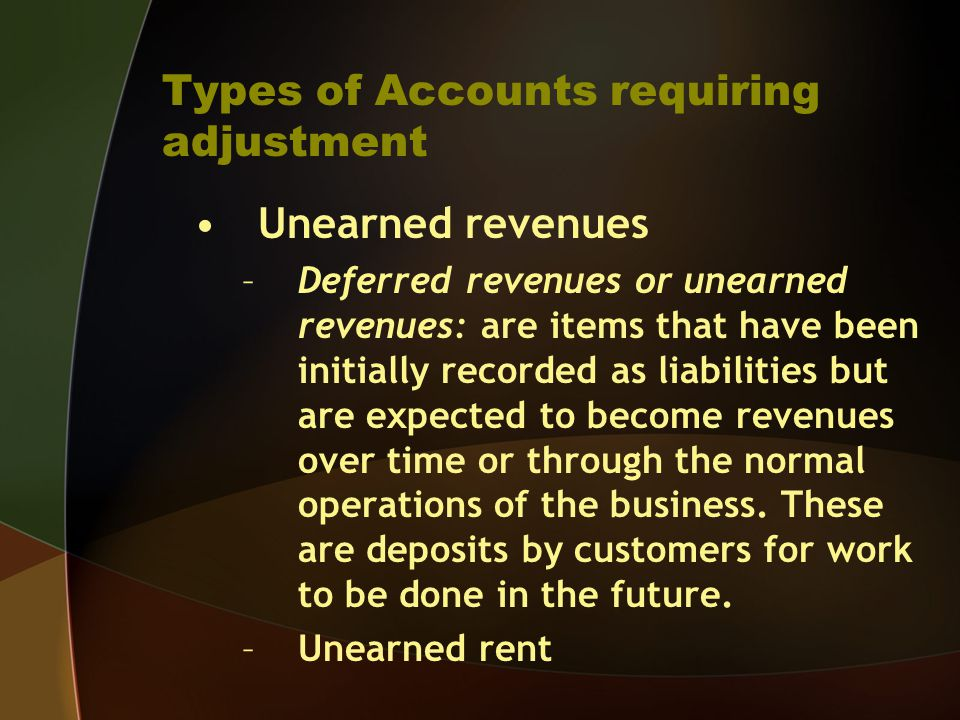 Types of Accounts requiring adjustment