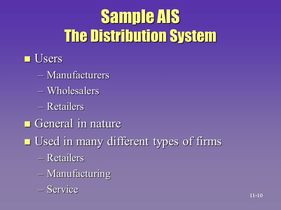 Sample AIS The Distribution System