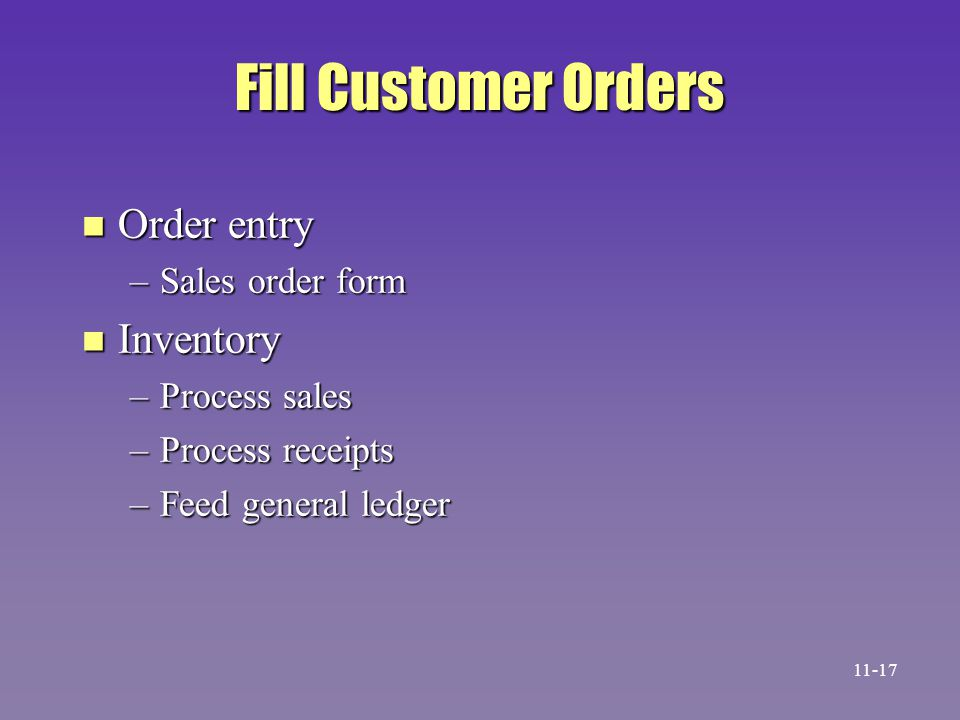 Fill Customer Orders Order entry Inventory Sales order form