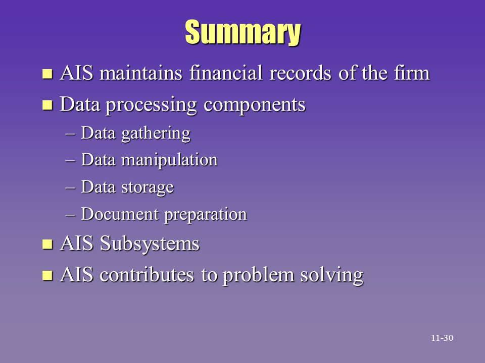 Summary AIS maintains financial records of the firm