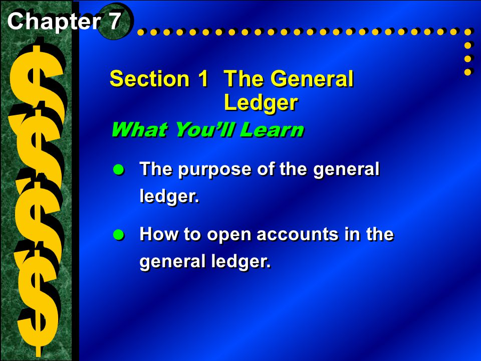 $ $ $ $ Section 1 The General Ledger What You'll Learn Chapter 7