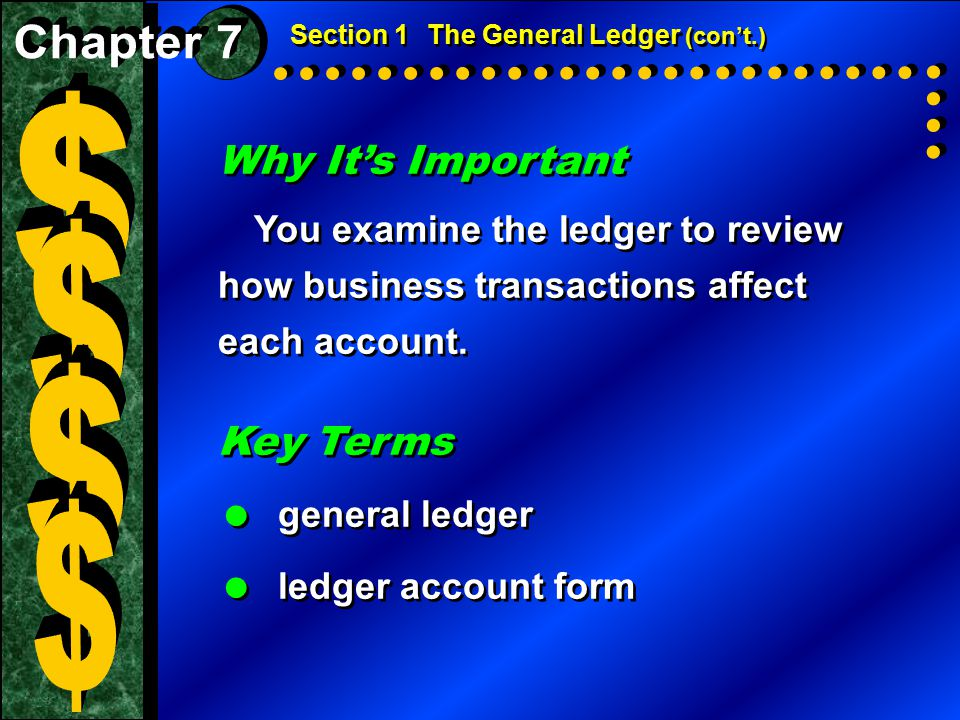 $ $ $ $ Why It's Important Key Terms Chapter 7 general ledger