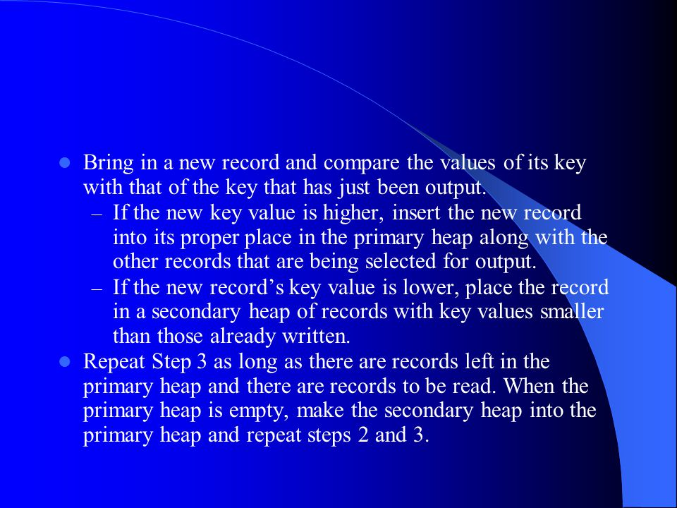 Bring in a new record and compare the values of its key with that of the key that has just been output.