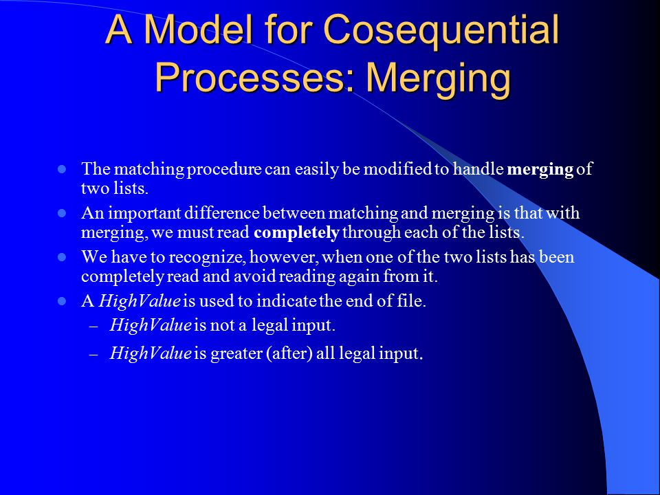 A Model for Cosequential Processes: Merging