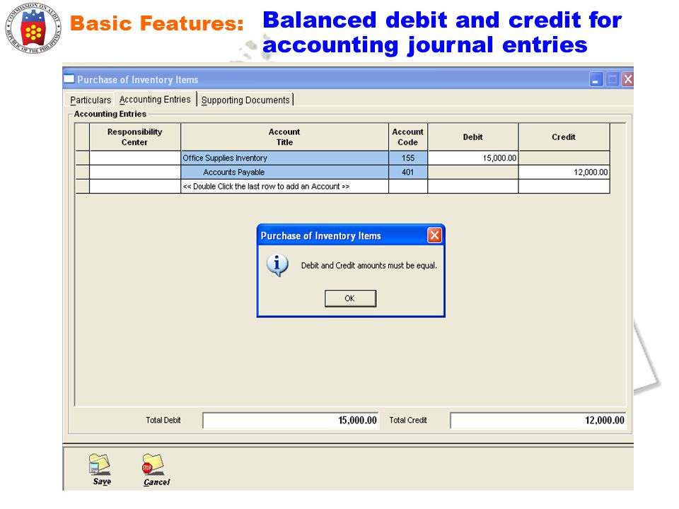 Balanced debit and credit for accounting journal entries