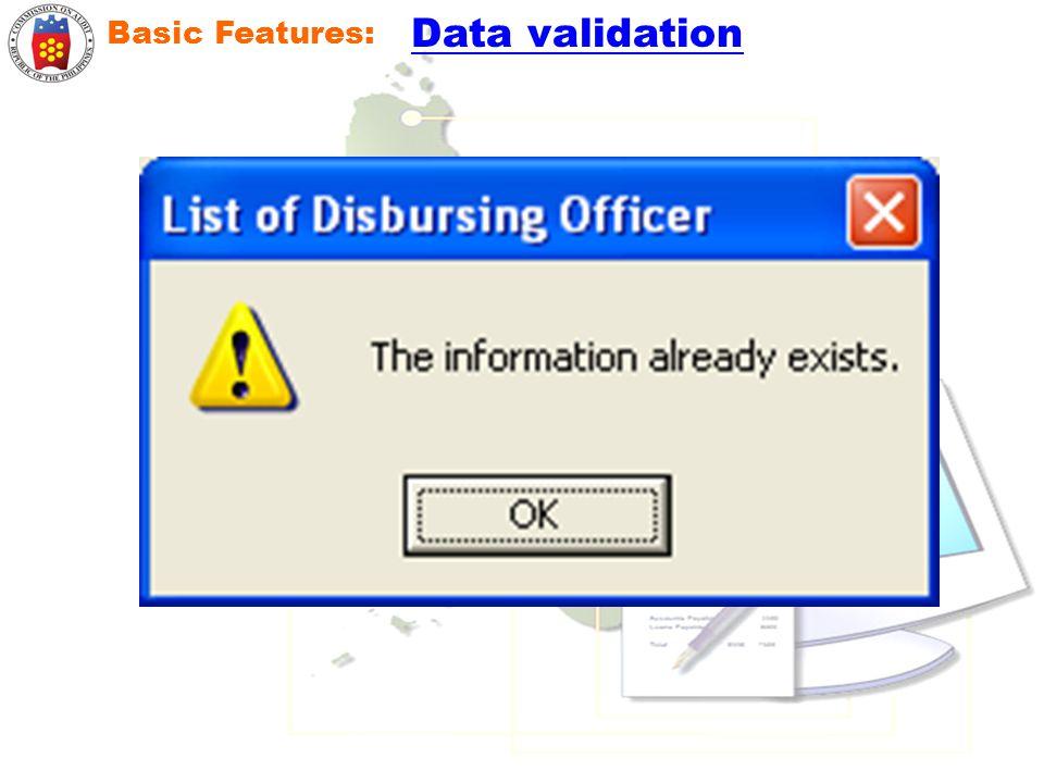 Basic Features: Data validation