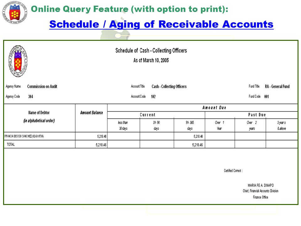 Schedule / Aging of Receivable Accounts