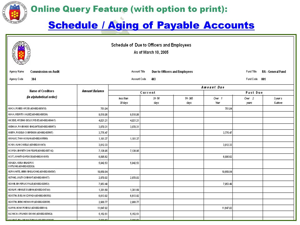 Schedule / Aging of Payable Accounts