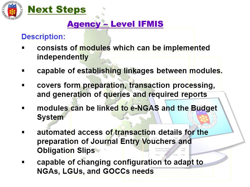 Next Steps Agency – Level IFMIS Description: