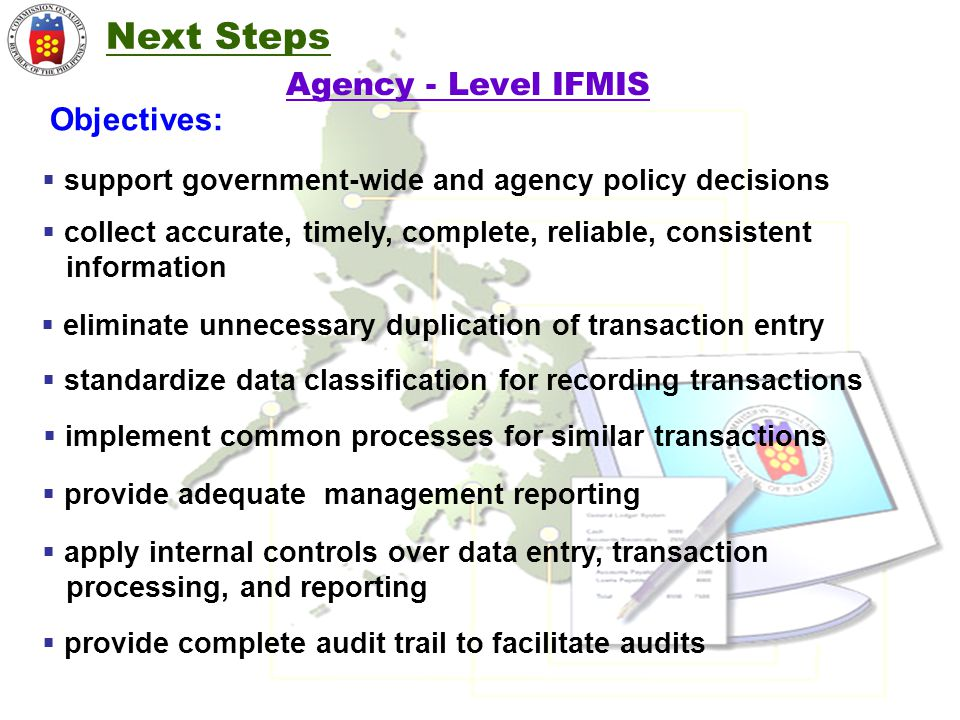 Next Steps Agency - Level IFMIS Objectives: