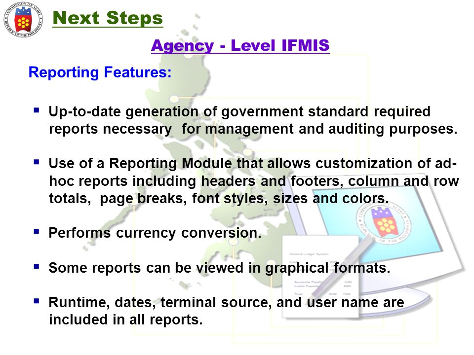 Next Steps Agency - Level IFMIS Reporting Features: