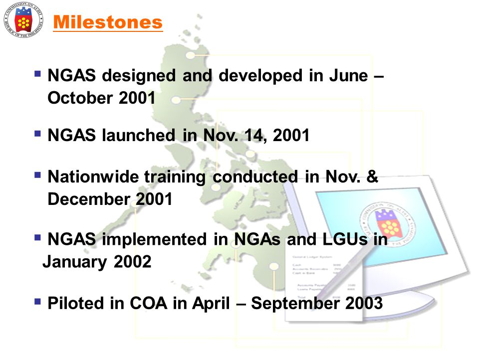 Milestones NGAS designed and developed in June – October 2001