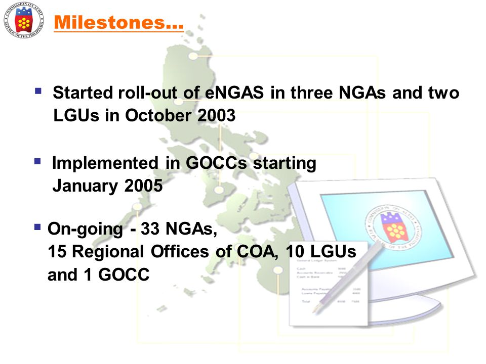 Milestones… Started roll-out of eNGAS in three NGAs and two