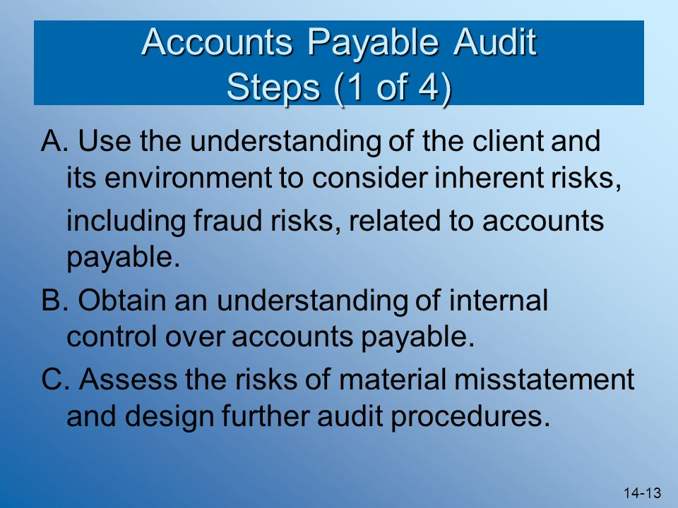 Accounts Payable Audit Steps (1 of 4)