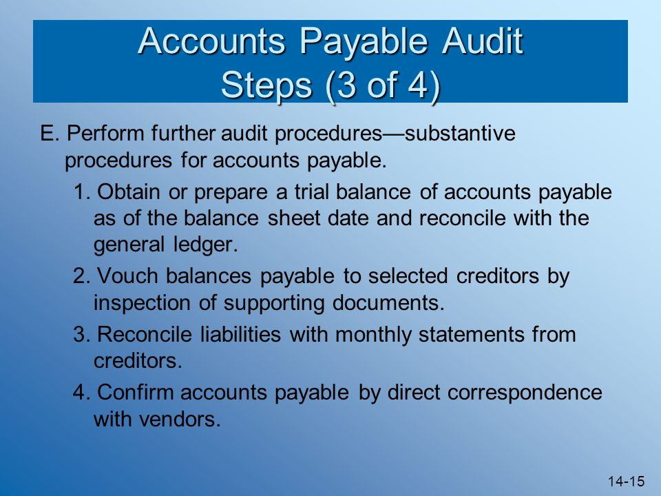 Accounts Payable Audit Steps (3 of 4)