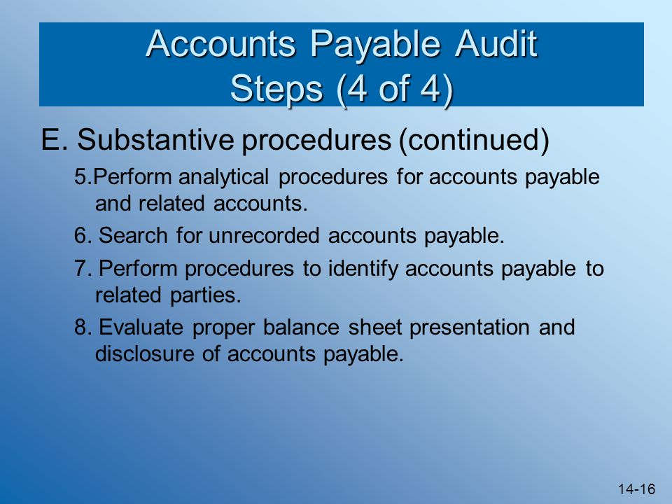 Accounts Payable Audit Steps (4 of 4)