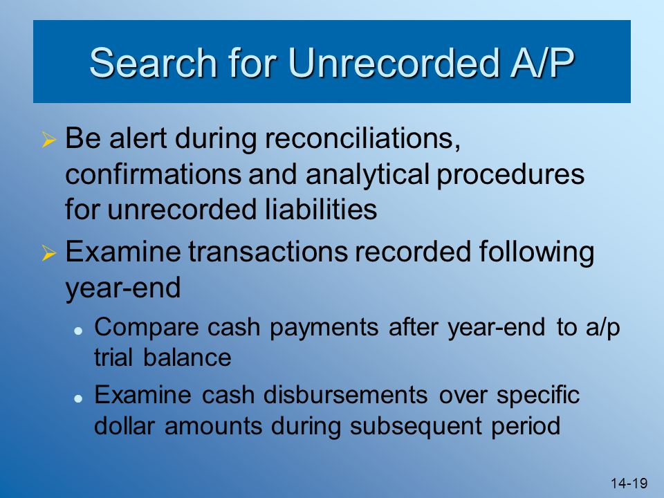 Search for Unrecorded A/P