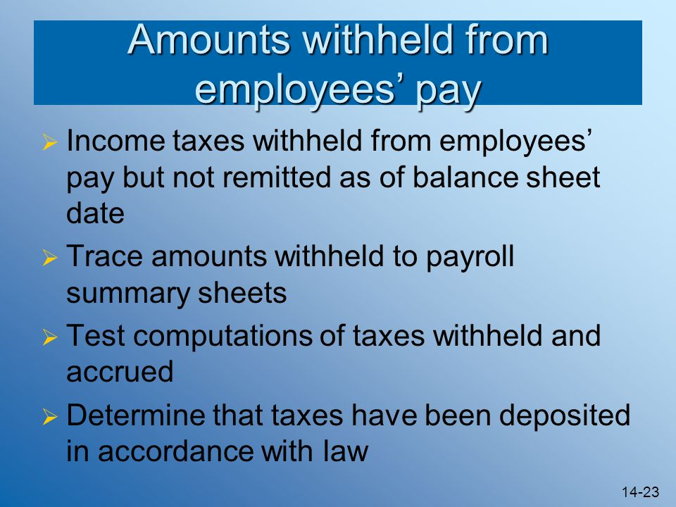 Amounts withheld from employees' pay