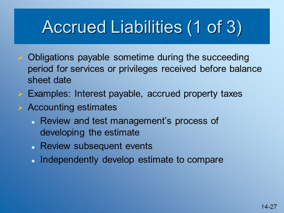 Accrued Liabilities (1 of 3)