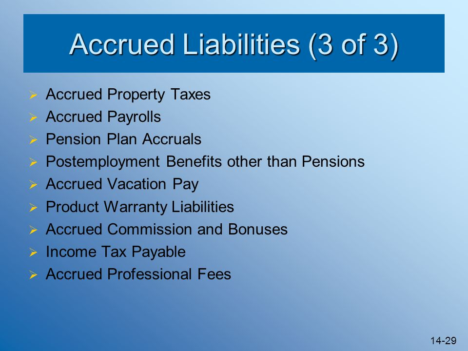 accrued liabilities An overview of fasb accounting standards codification topic 405, liabilities, as well as a list of fasb accounting standards updates (asus) and proposed asus related.