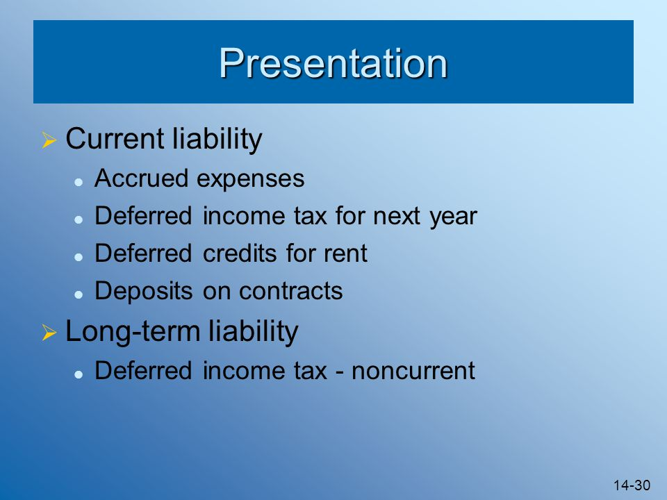 Presentation Current liability Long-term liability Accrued expenses