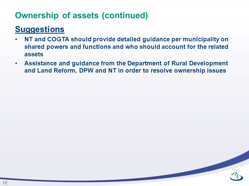 Ownership of assets (continued)