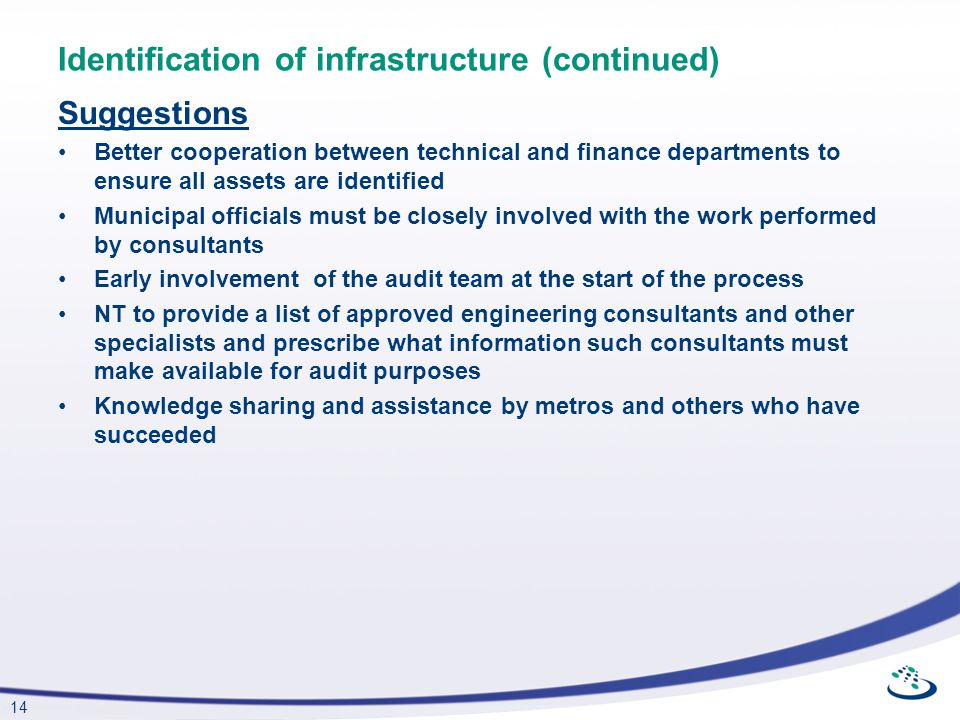Identification of infrastructure (continued)