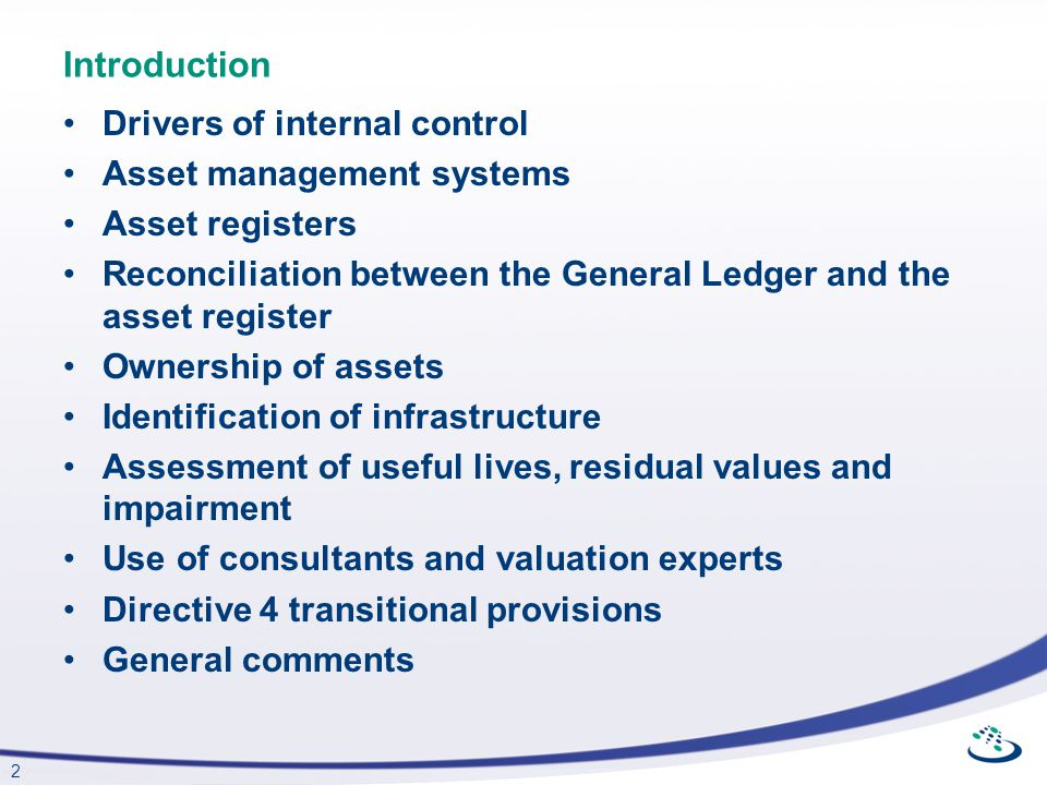 Introduction Drivers of internal control Asset management systems