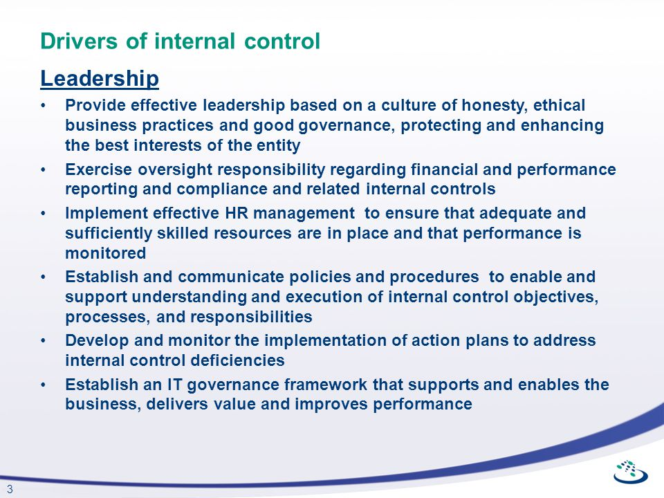 Drivers of internal control