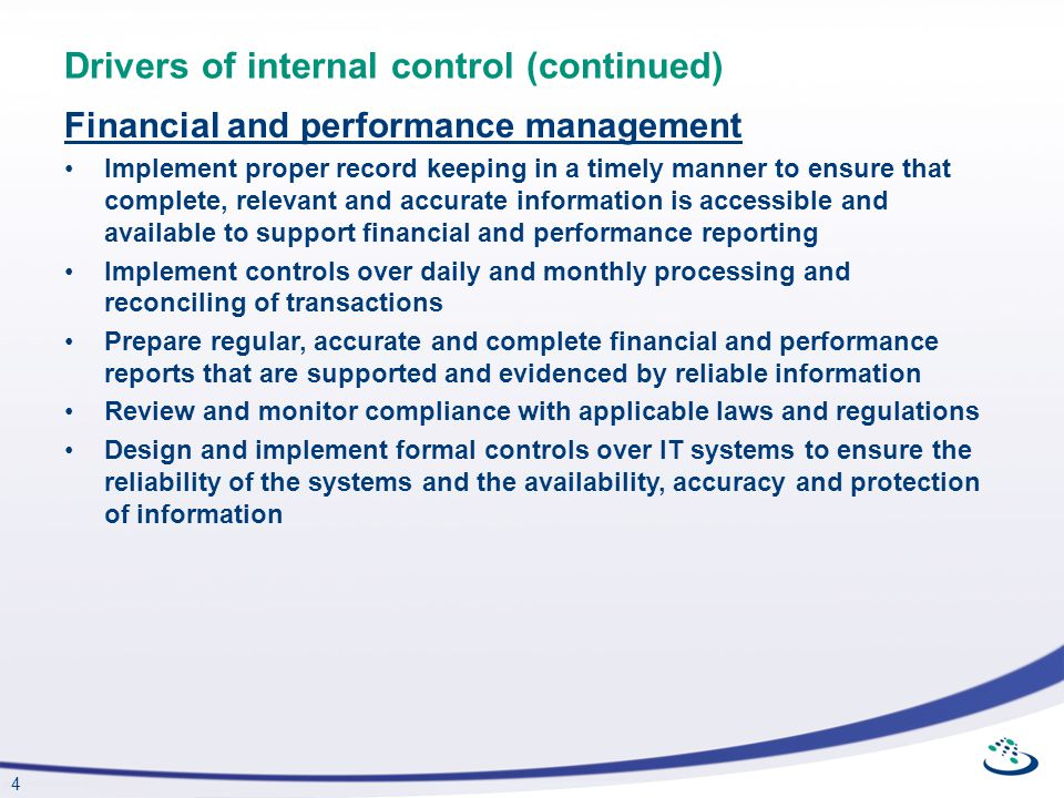 Drivers of internal control (continued)