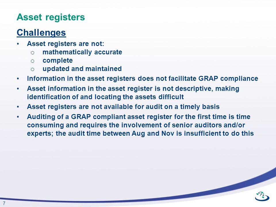 Asset registers Challenges Asset registers are not: