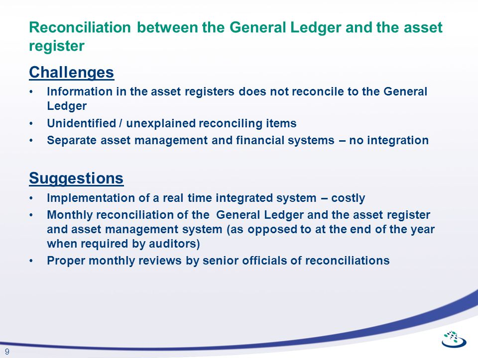 Reconciliation between the General Ledger and the asset register