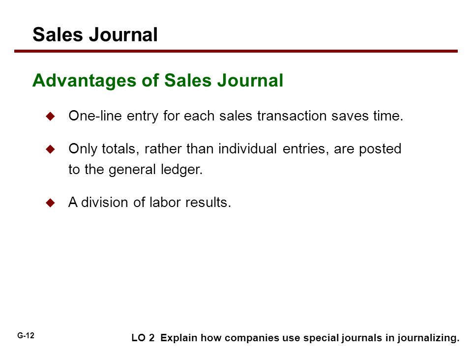 Sales Journal Advantages of Sales Journal