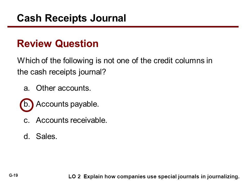 Cash Receipts Journal Review Question