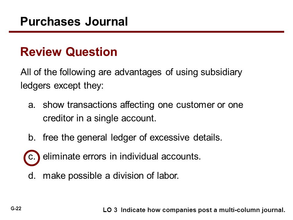 Purchases Journal Review Question