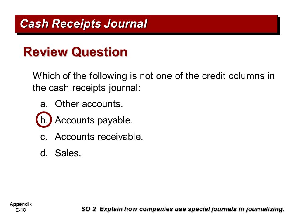Review Question Cash Receipts Journal