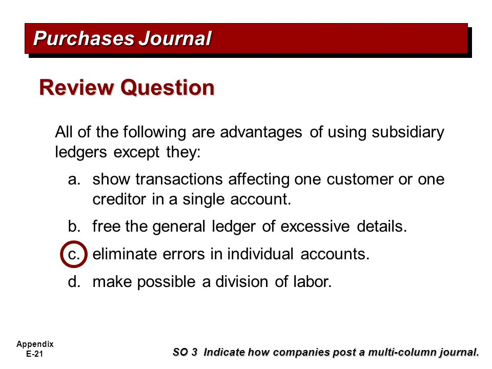 Review Question Purchases Journal