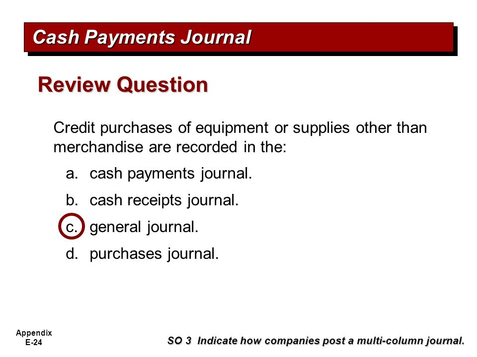 Review Question Cash Payments Journal