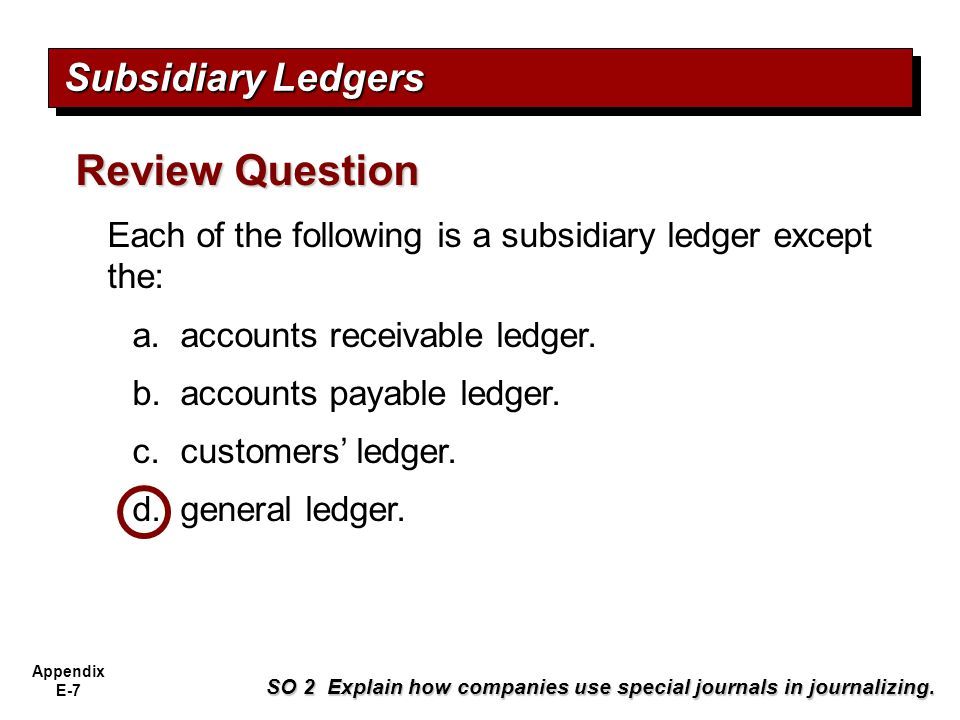 Review Question Subsidiary Ledgers