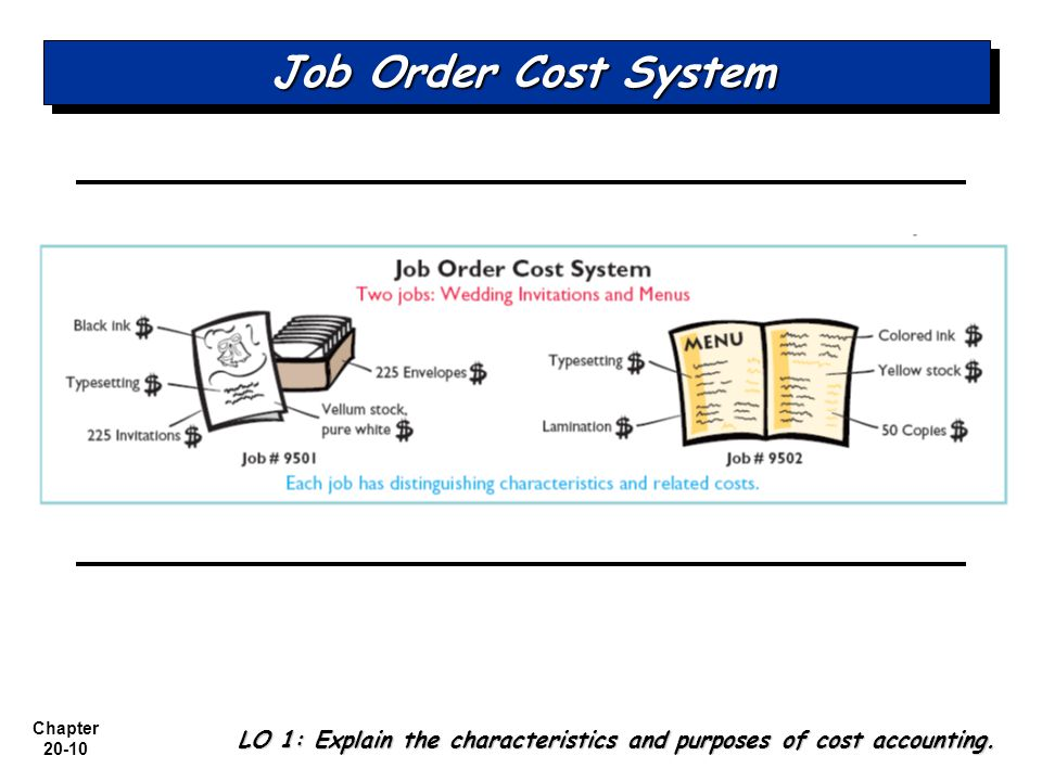 Job Order Cost System LO 1: Explain the characteristics and purposes of cost accounting.