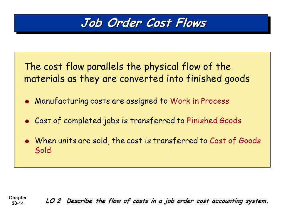Job Order Cost Flows The cost flow parallels the physical flow of the