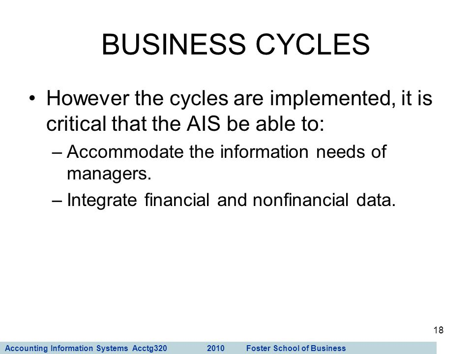 BUSINESS CYCLES However the cycles are implemented, it is critical that the AIS be able to: Accommodate the information needs of managers.