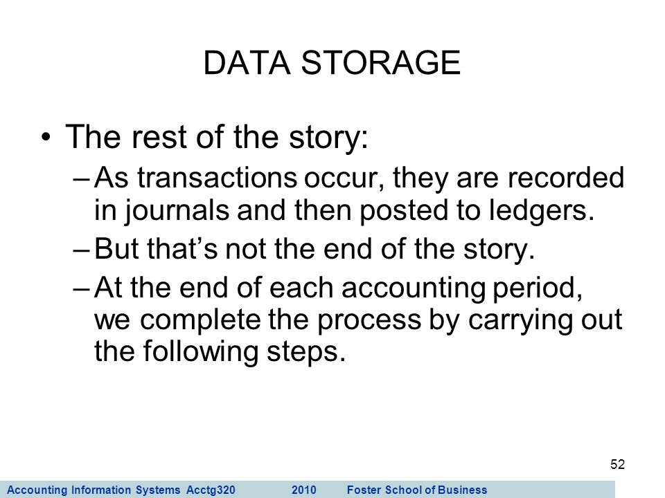 DATA STORAGE The rest of the story: