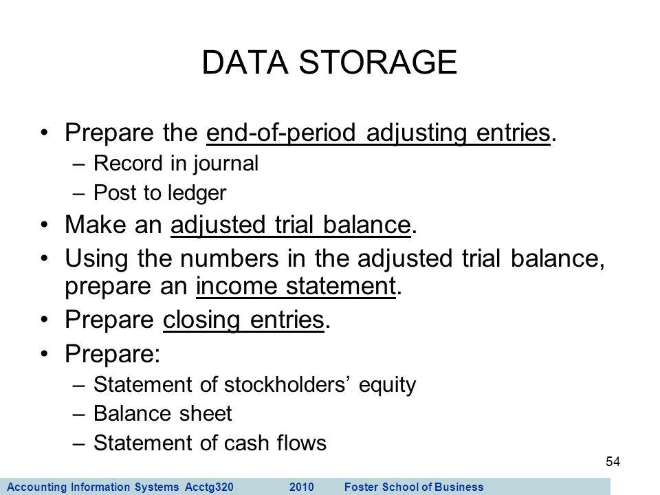 DATA STORAGE Prepare the end-of-period adjusting entries.