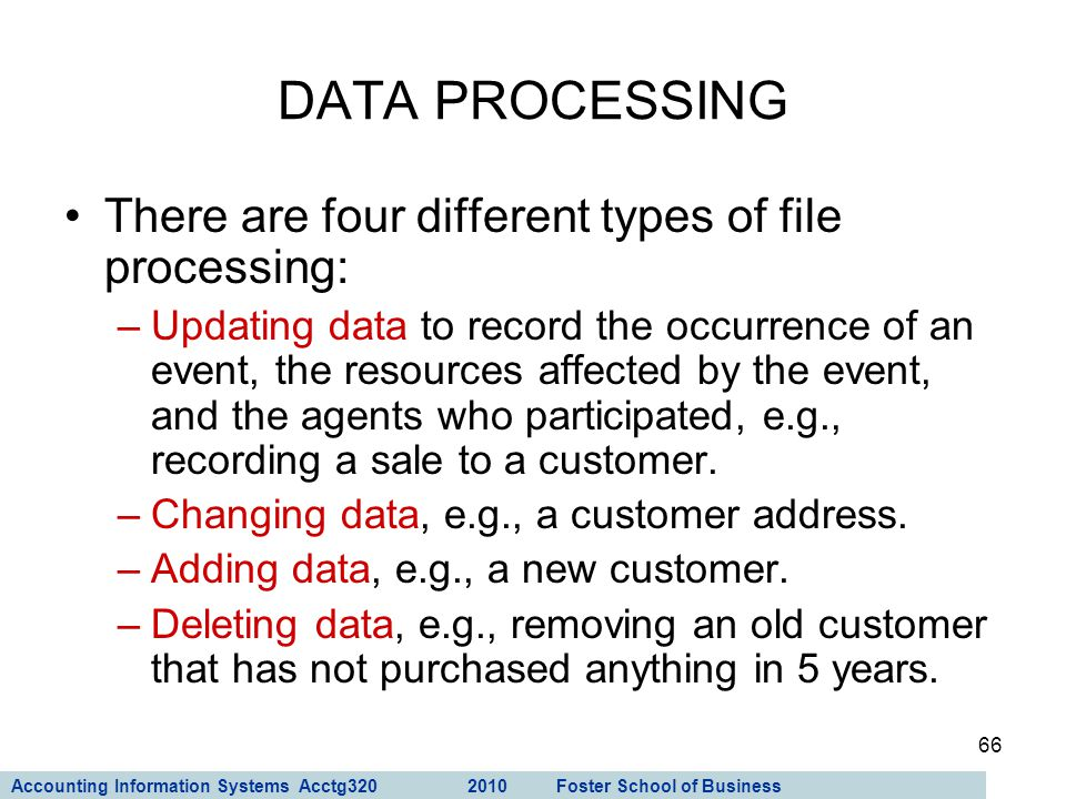 DATA PROCESSING There are four different types of file processing: