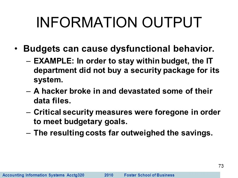 INFORMATION OUTPUT Budgets can cause dysfunctional behavior.