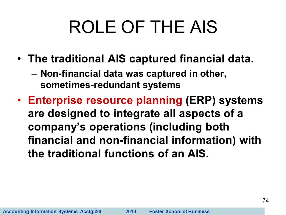 ROLE OF THE AIS The traditional AIS captured financial data.