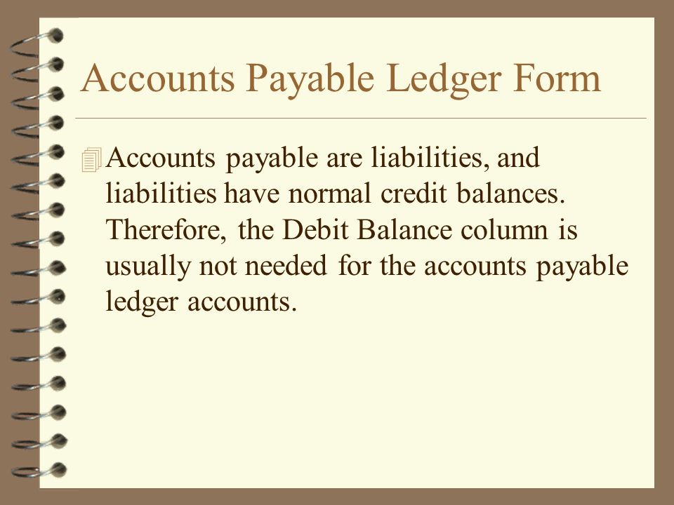 Accounts Payable Ledger Form