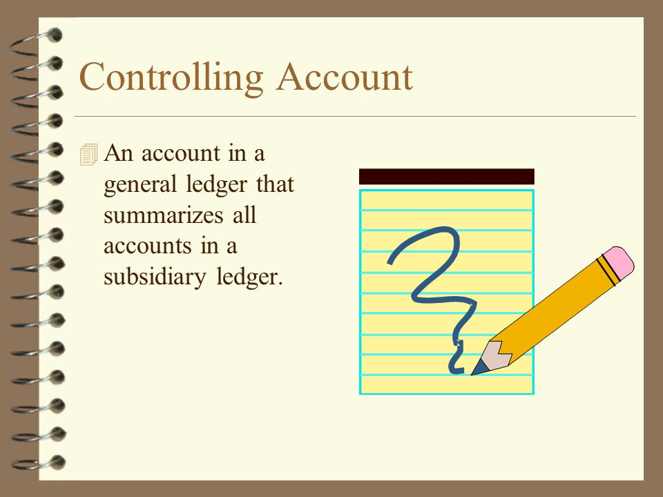 Controlling Account An account in a general ledger that summarizes all accounts in a subsidiary ledger.